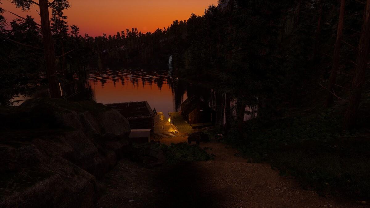 Sonnenuntergang bei der neuen Base