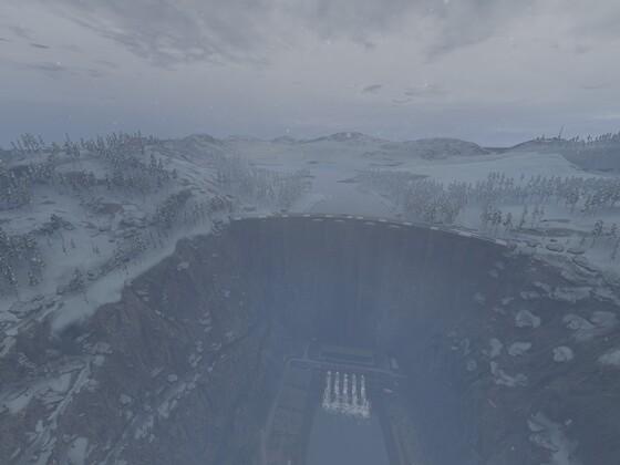 Schneelandschaft mit dem Damm