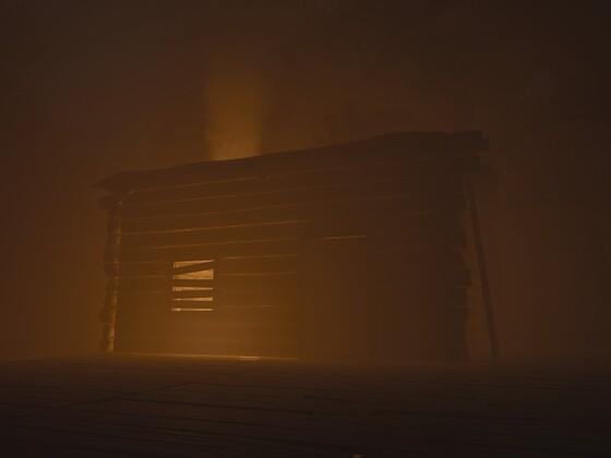 Hütte im Nebel