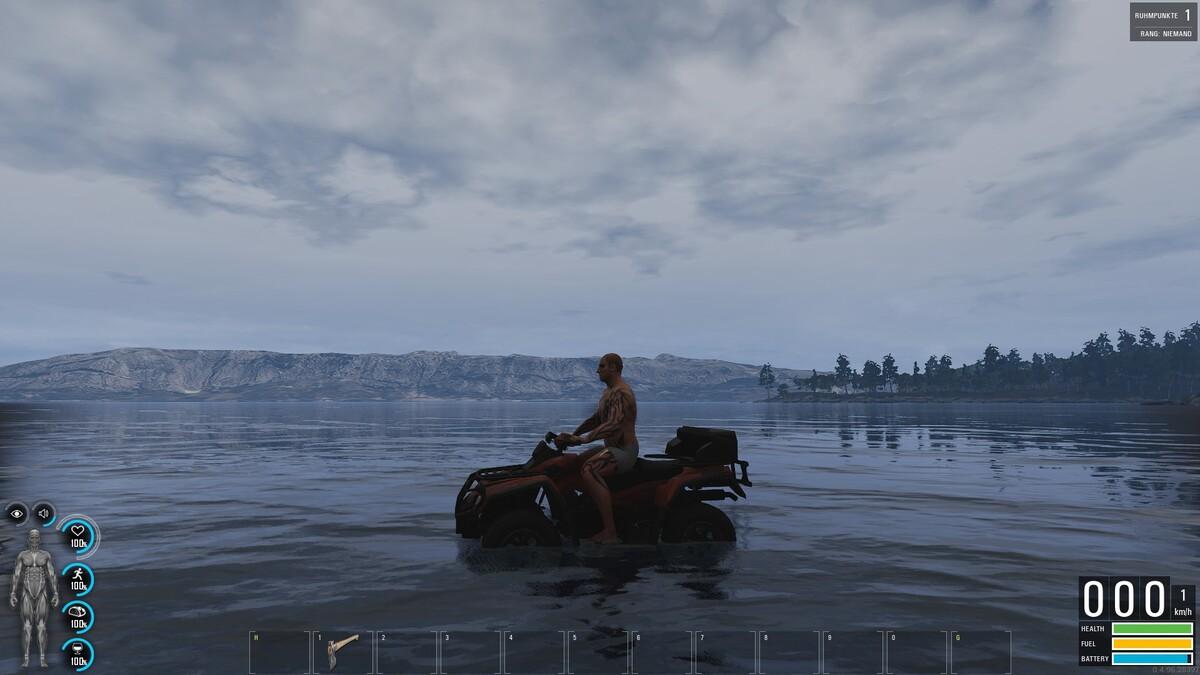 Es funktioniert ich fahre übers Wasser