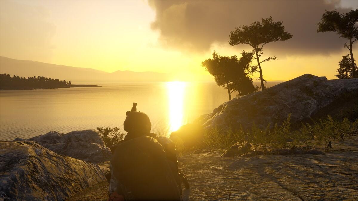 Erst mal den Sonnenuntergang genießen bevor es ab in den Marinen Basis rein geht