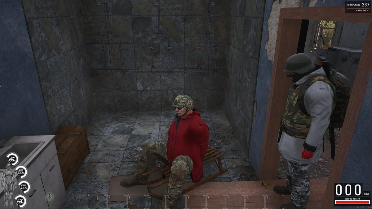 Da wollte der Sohne man schlitten fahren im bad :D